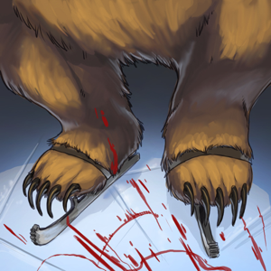 If you allow the Grizzly bear to take the skates from you before you can obtain its blood, well, then you're just fucked. Everybody knows that.