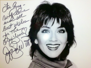 "Click to embiggen, but it reads ""For Greg - With love and all best wishes for the New Year (heart symbol) Joyce DeWitt"""