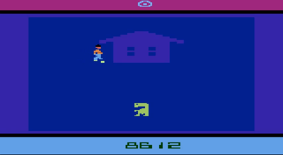 """From the Atari 2600 cartridge E.T., which I believe stood for """"Extra Terrible"""". In this part of the game, ET goes to a rapper friend's house to have some chips."""