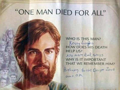 For those having problems reading the text, it has been helpfully answered by some wonderful human being. It says:<p>Who is this man?<p><i>Kenny Loggins</i><p>Why does his death help us?<p><i>No more bad songs</i><p>Why is it important that we remember him?<p><i>Highway to the Danger Zone was OK</i>