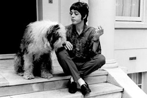 Paul McCartney with the Fifth Beatle, Mr. Bonkers, who cowrote a lesser known hit, I Am the Sheepdog