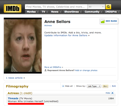"That's right, Anne Sellors played ""Woman Who Urinates Herself"" in the TV movie Threads. More than you've ever done, Kardashian."