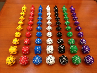 "Nothing says ""medieval"" like multicolored plastic dice."